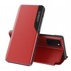 Atverčiamas dėklas Eco Leather View Case elegant bookcase Samsung Galaxy S20 FE 5G Raudonas