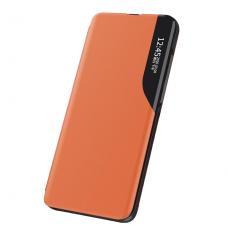 Atverčiamas dėklas Eco Leather View Case elegant bookcase Samsung Galaxy S21+ 5G (S21 Plus 5G) oranžinis