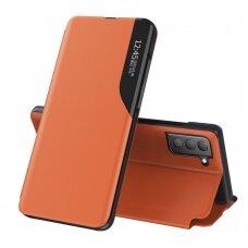 Atverčiamas dėklas Eco Leather View Case elegant Samsung Galaxy S21 FE Oranžinis