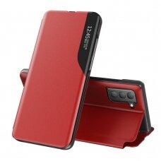 Atverčiamas dėklas Eco Leather View Case elegant Samsung Galaxy S21 FE Raudonas