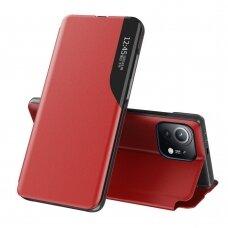 Atverčiamas dėklas Eco Leather View Case elegant Xiaomi Mi 11 Raudonas