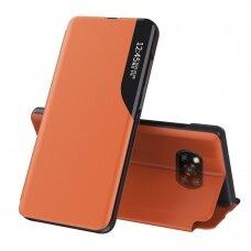 Atverčiamas dėklas Eco Leather View Case elegant Xiaomi Poco X3 NFC Oranžinis