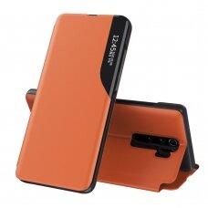 Atverčiamas Dėklas Eco Leather View Case Xiaomi Redmi Note 8 Pro Oranžinis