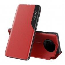 Atverčiamas dėklas Eco Leather View Case elegant Xiaomi Redmi Note 9T 5G Raudonas