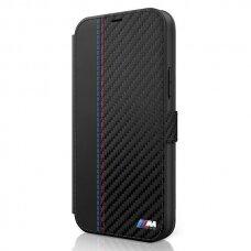Originalus atverčiamas Bmw dėklas Bmflbkp12Mmcarbk Iphone 12/12 Pro juodas M Pu Carbon Stripe kolekcija