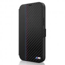 Originalus atverčiamas Bmw dėklas Bmflbkp12Smcarbk Iphone 12 Mini juodas M kolekcija Pu Carbon Stripe