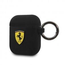Dėklas Originalus Ferrari FESACCSILSHBK AirPods cover juodas Silicone