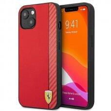 """Originalus dėklas Ferrari On Track Carbon Stripe iPhone 13 6,1"""" Raudonas"""