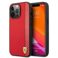 "Originalus Ferrari dėklas FESAXHCP13XRE iPhone 13 Pro Max 6,7"" Raudonas On Track Carbon Stripe"