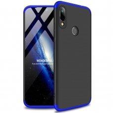"""Dviejų Dalių Plastikinis Dėklas Apsaugantis Priekį Ir Galą """"Gkk 360"""" Huawei Y6 2019 Juodas-Mėlynas"""