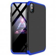 """Dviejų Dalių Plastikinis Dėklas Apsaugantis Priekį Ir Galą """"Gkk 360"""" Iphone Xs Max Juodas-Mėlynas"""