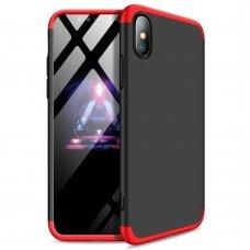 """Dviejų Dalių Plastikinis Dėklas Apsaugantis Priekį Ir Galą """"Gkk 360"""" Iphone Xs Max Juodas-Raudonas"""