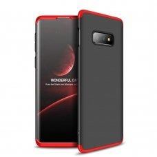 """Dviejų Dalių Plastikinis Dėklas Apsaugantis Priekį Ir Galą """"Gkk 360"""" Samsung Galaxy S10E Juodas-Raudonas"""