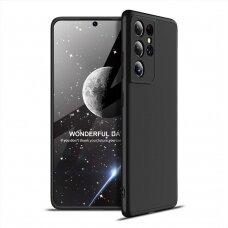"""DVIEJŲ DALIŲ PLASTIKINIS DĖKLAS APSAUGANTIS PRIEKĮ IR GALĄ """"GKK 360"""" Samsung Galaxy S21 Ultra 5G Juodas"""