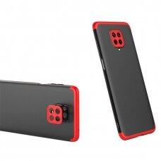 """Dviejų Dalių Plastikinis Dėklas Apsaugantis Priekį Ir Galą """"Gkk 360"""" Xiaomi Redmi 10X 4G / Xiaomi Redmi Note 9 Juodas-Raudonas"""