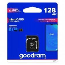 Goodram Microcard 128 GB micro SD XC UHS-I class 10 memory card, SD adapter (M1AA-01280R12)