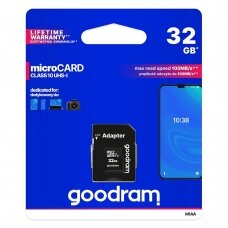 Goodram Microcard 32 GB micro SD HC UHS-I class 10 memory card, SD adapter (M1AA-0320R12)