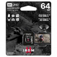 Goodram Microcard 64 GB micro SDHC SDXC UHS-I U3 V30 Atminties Kortelė SD adapteris Juodas (IR-M3AA-0640R12)