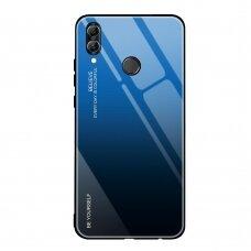 """Grūdinto Stiklo Dėklas Nugarėlė """"Gradient Glass Durable"""" Huawei P Smart 2019 Juodas-Mėlynas"""