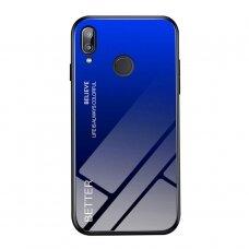 """Grūdinto Stiklo Dėklas Nugarėlė """"Gradient Glass Durable"""" Huawei P20 Lite Juodas-Mėlynas"""