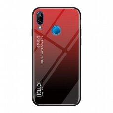 """Grūdinto Stiklo Dėklas Nugarėlė """"Gradient Glass Durable"""" Huawei P20 Lite Juodas-Raudonas"""