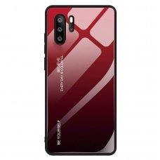 """Grūdinto Stiklo Dėklas Nugarėlė """"Gradient Glass Durable"""" Huawei P30 Pro Juodas-Raudonas"""