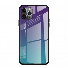 """Grūdinto Stiklo Dėklas Nugarėlė """"Gradient Glass Durable"""" Iphone 11 Pro Max Žalias-Violetinis"""