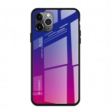 """Grūdinto Stiklo Dėklas Nugarėlė """"Gradient Glass Durable"""" Iphone 11 Pro Max Rožinis-Violetinis"""