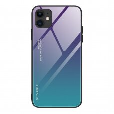Grūdinto stiklo dėklas 'Gradient Glass Durable' iPhone 12 Mini žalias-violetinis