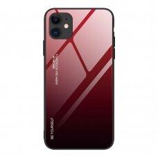 Grūdinto Stiklo Dėklas 'Gradient Glass Durable' Iphone 12 / 12 Pro Juodas-Raudonas