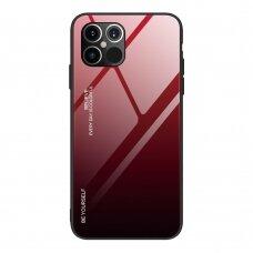 Grūdinto Stiklo Dėklas 'Gradient Glass Durable' Iphone 12 Pro Max Juodas-Raudonas