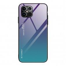 Grūdinto Stiklo Dėklas 'Gradient Glass Durable' Iphone 12 Pro Max Žalias-Violetinis