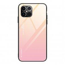Grūdinto Stiklo Dėklas 'Gradient Glass Durable' Iphone 12 Pro Max Rožinis