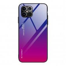 Grūdinto Stiklo Dėklas 'Gradient Glass Durable' Iphone 12 Pro Max Rožinis-Violetinis