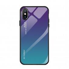 """Grūdinto stiklo dėklas nugarėlė """"Gradient Glass Durable"""" iPhone XR žalias-violetinis (gqe26) USC061"""