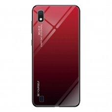 """Grūdinto stiklo dėklas nugarėlė """"Gradient Glass Durable"""" Samsung Galaxy A10 juodas-raudonas (egb38) UCS034"""