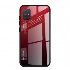 """Grūdinto Stiklo Dėklas Nugarėlė """"Gradient Glass Durable"""" Samsung Galaxy A21S Juoda-Raudona"""