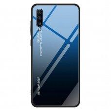 """Grūdinto Stiklo Dėklas Nugarėlė """"Gradient Glass Durable"""" Samsung Galaxy A70 Juodas-Mėlynas"""