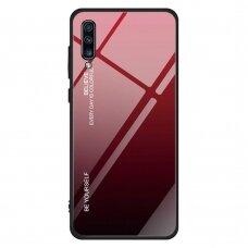 """Grūdinto Stiklo Dėklas Nugarėlė """"Gradient Glass Durable"""" Samsung Galaxy A70 Juodas-Raudonas"""
