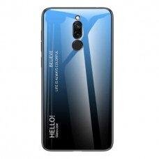 """Grūdinto stiklo dėklas nugarėlė """"Gradient Glass Durable"""" Xiaomi redmi 8 juodas-mėlynas (jfe91) UCS116"""