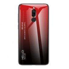 """Grūdinto stiklo dėklas nugarėlė """"Gradient Glass Durable"""" Xiaomi redmi 8 juodas-raudonas (jfe91) UCS116"""