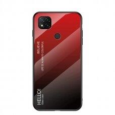 Grūdinto Stiklo Dėklas 'Gradient Glass Durable' Xiaomi Redmi 9C Juodas-Raudonas