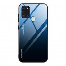 """Grūdinto Stiklo Dėklas Nugarėlė """"Gradient Glass Durable"""" Samsung Galaxy A21S Juoda-Mėlyna"""