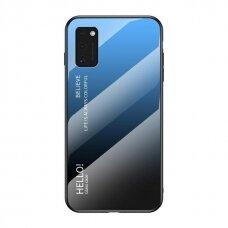 """Grūdinto Stiklo Dėklas Nugarėlė """"Gradient Glass Durable"""" Samsung Galaxy A41 Juodas-Mėlynas"""