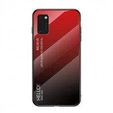 """Grūdinto Stiklo Dėklas Nugarėlė """"Gradient Glass Durable"""" Samsung Galaxy A41 Juodas-Raudonas"""