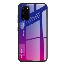 """Grūdinto Stiklo Dėklas Nugarėlė """"Gradient Glass Durable"""" Samsung Galaxy A41 Rožinis-Violetinis"""