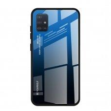"""Grūdinto Stiklo Dėklas Nugarėlė """"Gradient Glass Durable"""" Samsung Galaxy A51 Juodas-Mėlynas"""