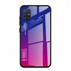 """Grūdinto Stiklo Dėklas Nugarėlė """"Gradient Glass Durable"""" Samsung Galaxy A51 Rožinis-Violetinis"""