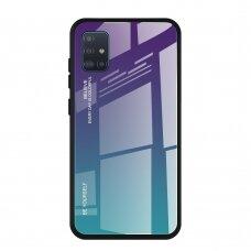 """Grūdinto Stiklo Dėklas Nugarėlė """"Gradient Glass Durable"""" Samsung Galaxy A51 Žalias-Violetinis"""