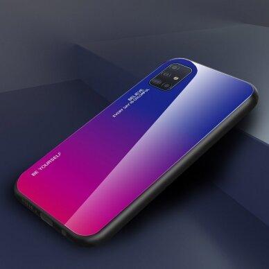 """GRŪDINTO STIKLO DĖKLAS NUGARĖLĖ """"GRADIENT GLASS DURABLE"""" Samsung Galaxy A51 rožinis-violetinis UCS025 2"""